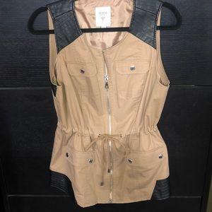Guess Tan w Black faux leather zipper vest Size L
